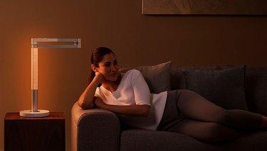 Dyson Lightcycle Morph soft light in living room