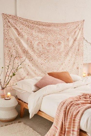 boho wall decor idea with wall tapestry