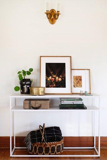 Framed floral prints.