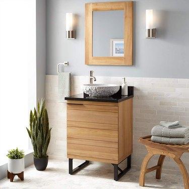 Teak Scandinavian bathroom vanity in gray bathroom
