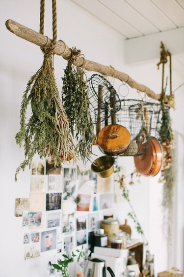 hanging pots and pans in kitchen