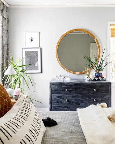 neutral and black bohemian color palette in bedroom by House of Nomad