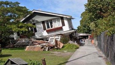 Earthquake-damaged house.
