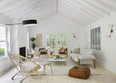 Scandinavian colors in all-white living room