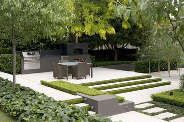 Raised terrace with table.