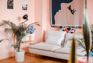 Pastel pink family room paint colors with white couch