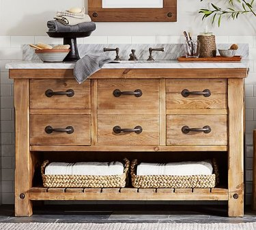 wood country bathroom vanity idea from Pottery Barn