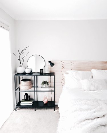 small bedroom organization ideas with shelving unit