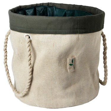gardening bag with handles and dark top