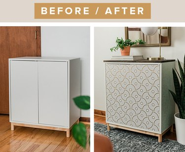 We used wallpaper and wood to make the IKEA Eket cabinet almost unrecognizable.