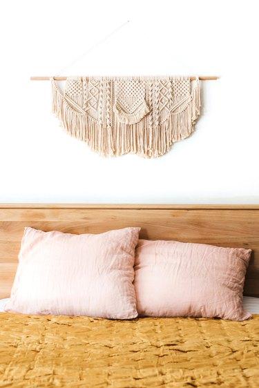 velvet duvet and wall hanging
