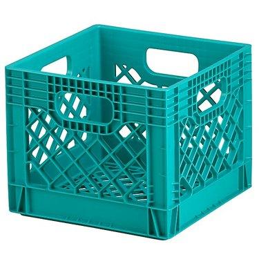 Crate and Barrel Aqua Milk Crate, $10