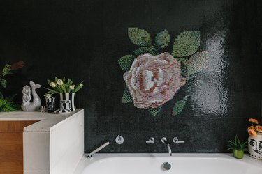 modern bathroom with flower mural bizzasa tiles