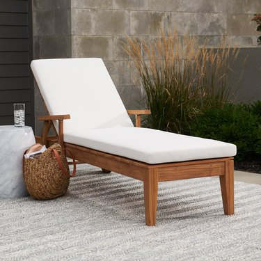 MoDRN Scandinavian Teak Chaise Lounge with Sunbrella Cushion