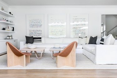 living room in minimal style with white couch