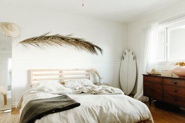 White bedroom with earthy elements