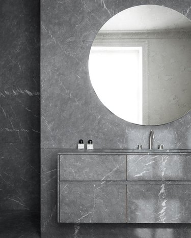 minimalist bathroom vanity with all gray cabinets and walls