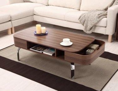 Furniture of America Lawson Modern Walnut 2-Drawer Coffee Table
