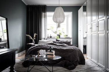 cozy bedroom ideas with gray walls and floor to ceiling drapery