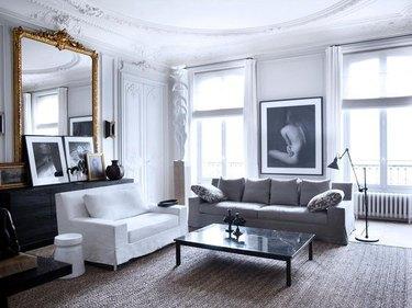 crown molding and trim ideas in Paris apartment