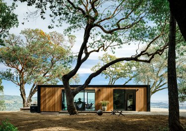 Modern prefab home with flat roof alongside trees