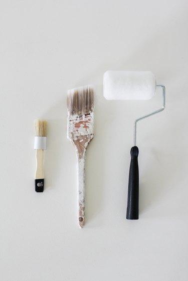 Chalk paint brush, flat brush and paint roller