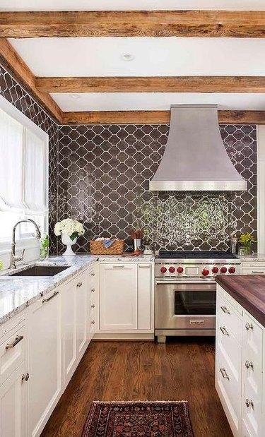 rustic kitchen with brown arabesque tile backsplash