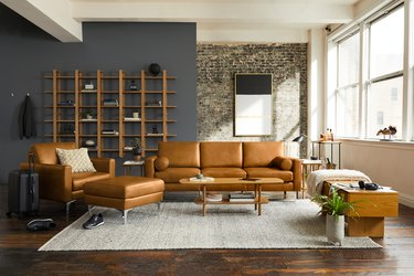 camel leather sofa in living room