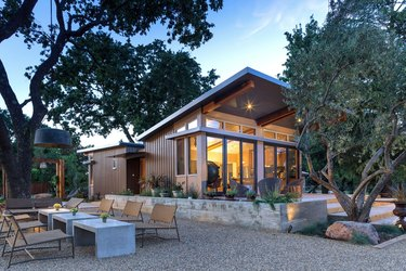 modern prefab home with pitched roof
