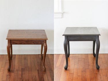 Before and after of chalk-painted end table