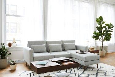 gray upholstery sofa in living room