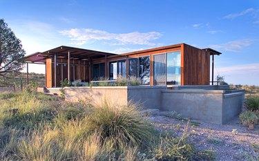modern prefab home in Marfa, Texas