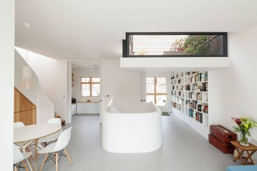 loft with minimalist room paint colors and white staircase