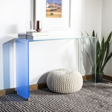 two tone tinted console table