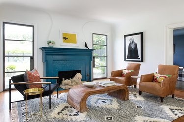 Blue contemporary fireplace mantel by Mary Patton Design
