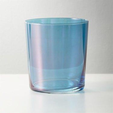 tinted blue glass tumbler
