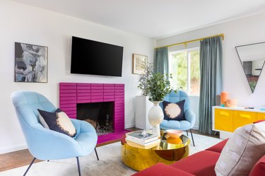 hot pink painted fireplace