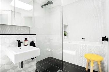 small bathroom backsplash ideas with geometric tile backsplash