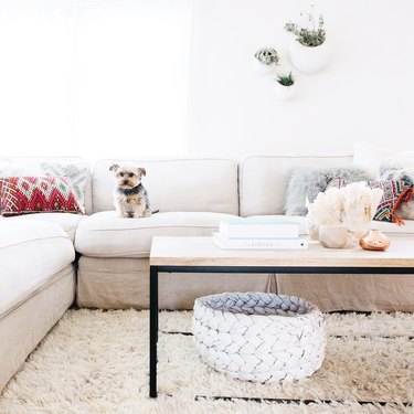 white living room by professional organizer Jen Robin