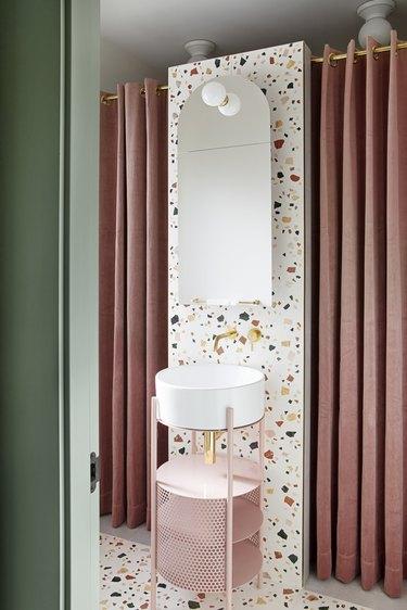 small bathroom backsplash ideas Small with terrazzo tile