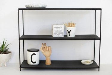IKEA tray stand console table in black.