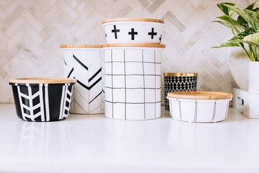 Black and white Scandinavian-style containers