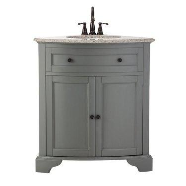 gray corner bathroom vanity from The Home Depot