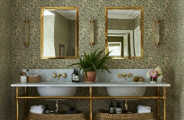 arts and crafts bathroom with botanical wallpaper print and console double vanity