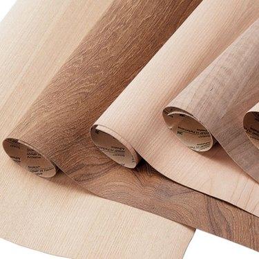 Rolls of wood veneer.