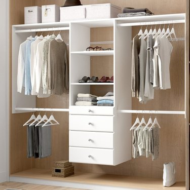 white closet organizer system