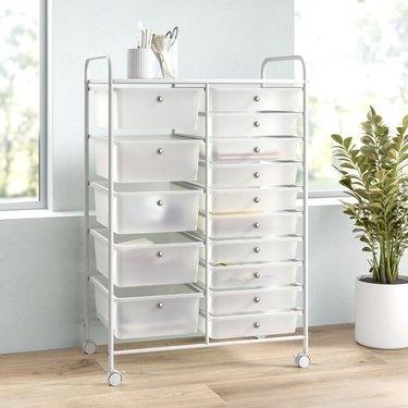 white rolling storage drawer