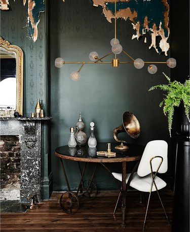 art deco colors with emerald green and brass
