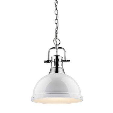 White dome pendant light with chrome base and chain