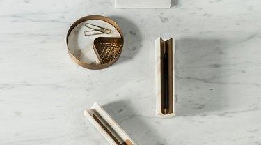 Salvatori Marble and Brass Pen Holder